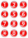 Red telephone buttons. Set of red telephone buttons stock illustration