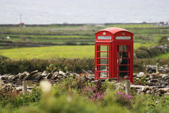Red Telephone cabin Stock Images