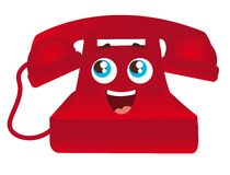 Red telephone cartoon Royalty Free Stock Photography