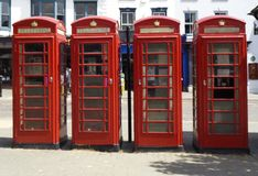red telephone cell in London stock photos