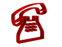 Red telephone 3d outline illustration Royalty Free Stock Images