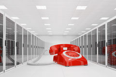 Red telephone in datacentre Stock Photography