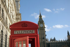 Red telephone kiosk and Big Ben Stock Photo