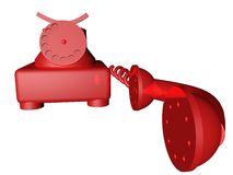 Red telephone. A red telephone old style, 3d render Stock Photo