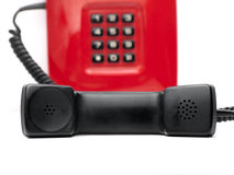 Red telephone over white Stock Photography