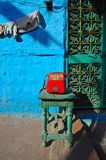 Red telephone in rajasthan. A red telephone on the street in jodphur,rajasthan,india Stock Photo