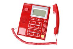 Red telephone set. Telephone set for the house and office Stock Photos