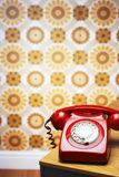 Red Telephone On Table Royalty Free Stock Images