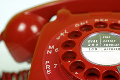 Red Telephone up close. Close up of a vintage red telephone Stock Photography