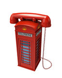 Red telephone, version 2. Illustration of a telepohne shaped like a traditional british phone booth. This version has the receiver on top the phone booth Stock Photos