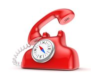 Red telephone with vintage compass. Stock Photos