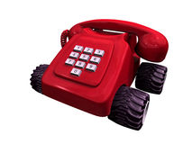 Red telephone on wheels Royalty Free Stock Images