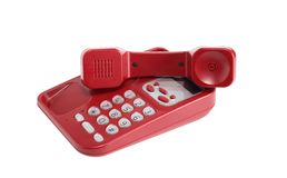 Red Telephone On White Stock Image