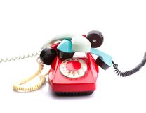 Red telephone on white Stock Photo