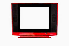 Red television on isolated white Royalty Free Stock Images