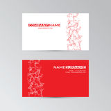 Red template of business card with abstract elements Royalty Free Stock Photos