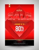 Red template super sale poster discount up to 80 percent with arrow. Stock Image