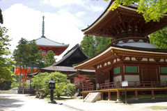 Red Temple and associated structure on Mount Kōya Royalty Free Stock Image