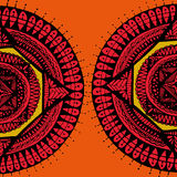 2 Red Temple Mandala. Vector image - authors round, like a temple top view stock illustration