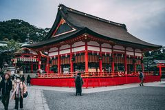 A red temple in Kyoto, Japan. stock photography