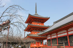 Red temple pavilion Kiyomizu dera Royalty Free Stock Image
