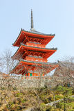 Red temple pavilion Kiyomizu dera Stock Photography