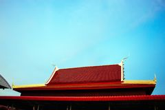 The red temple roof. Has a sky background in Thailand stock image