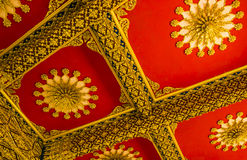 Red temple roof style in Buddhism Royalty Free Stock Photos