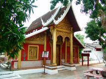 Red Temple Wat Pak Khan in Luang Prabang. Royalty Free Stock Photography