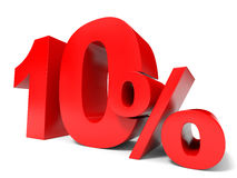 Red ten percent off. Discount 10%. 3D illustration Royalty Free Illustration
