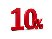 Red ten percent. Sign  on white background, three-dimensional rendering Stock Image