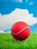 A red tennis ball. On a green plastic lawn against a blue cloudy sky Royalty Free Stock Photography