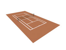 Red tennis court rendered isolated Royalty Free Stock Photography