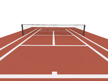 Red tennis court rendered Royalty Free Stock Photo