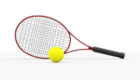 Red tennis racket with ball isolated Stock Photos