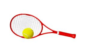 Red tennis racket isolated white Stock Images