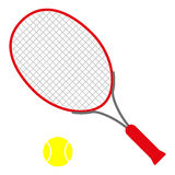 Red tennis racket. With yellow ball - symbol of individually sport and ballgame and equipment Royalty Free Illustration