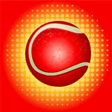 Red tennisball and haftone Stock Photography