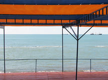 Red tent. On the Black sea beach stock photos