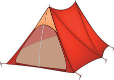Red tent. Brightly red tent for tourism Stock Photography