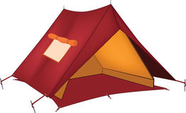 Red tent. Cartoon. Red tourist sports tent with a window Royalty Free Stock Photos