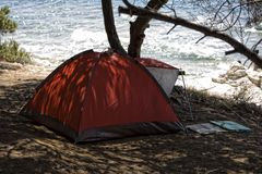 Red tent in the forrest Stock Photography