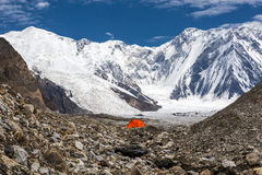 Red Tent in High Altitude Mountain Terrain Stock Photos