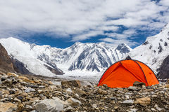 Red Tent in High Altitude Mountain Terrain Stock Image