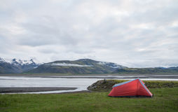 Red tent and icelandic landscape Royalty Free Stock Images