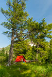 Red Tent in the mountains Stock Images
