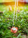 Red tent peg holding a rope royalty free stock image