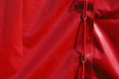 Red tent tarpaulin. From a tent Royalty Free Stock Images