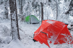 Red tent in winter forest. Tourist camp in snowy . in the snow in Royalty Free Stock Photo