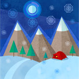 The red tent among the winter mountains Stock Photography